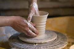 Clay wheel pottery