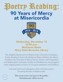 Poetry Reading for 90 years of Mercy at Misericordia.