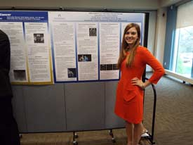 Courtney Fichthorn presents research on MRI-Guided Laser Interstitial Thermal Therapy