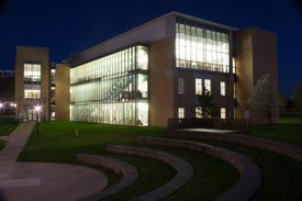 Misericordia Library at night